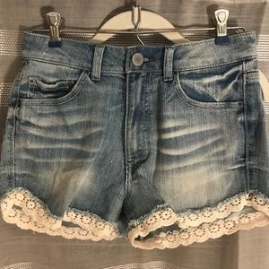 High Rise Denim Shorts